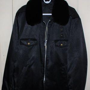 XL Black Fur Lined Collar Nylon Jacket